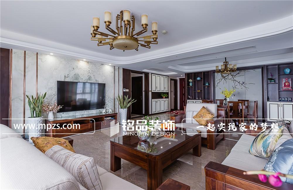 230平方米大平层毛坯新房新中式装修案例_效果图-杭州萧山区蓝爵国际