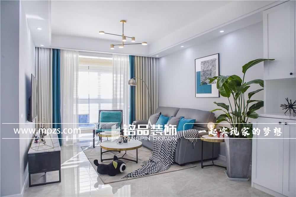 70平方米毛坯新房公寓房北欧轻奢风装修案例_效果图-杭州江干区东郡之星
