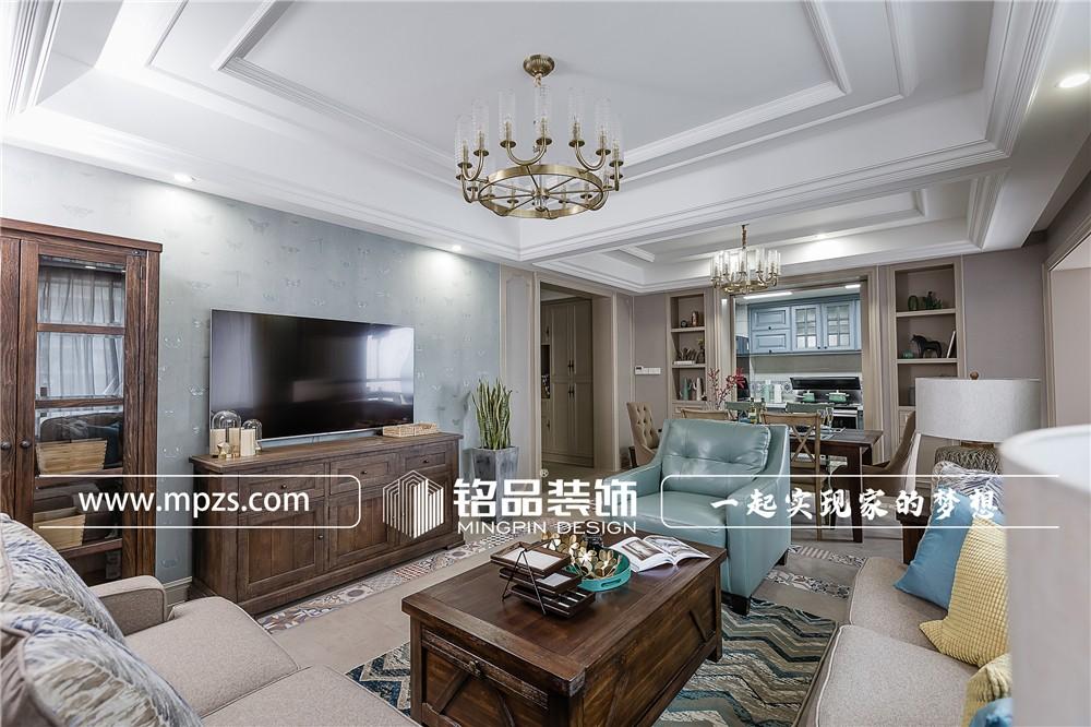156平方米公寓毛坯新房美式风格装修案例_效果图-杭州临安绿城玉兰花园