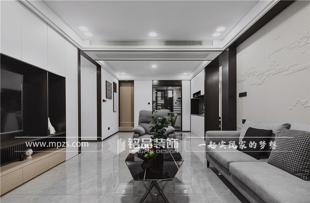 杭州131平方米现代风格毛胚新房装修案例_效果图