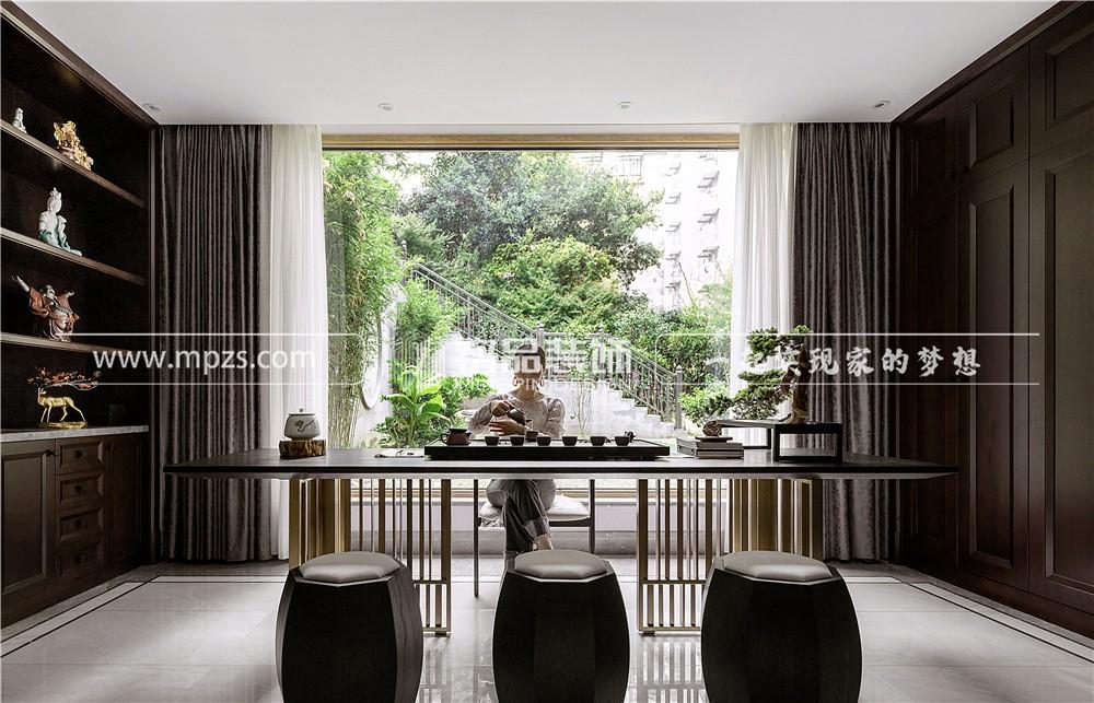杭州580平方米现代中式风格别墅装修案例_效果图