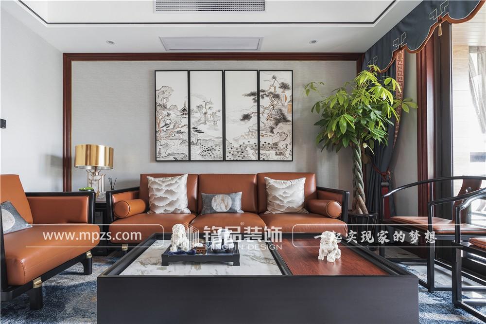 杭州145平方米新中式风毛坯新房装修案例_效果图