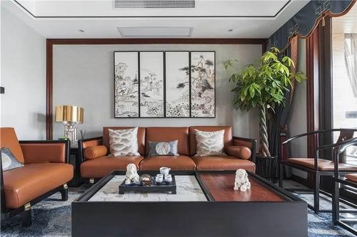 145㎡新中式风格公寓新房装修案例效果图